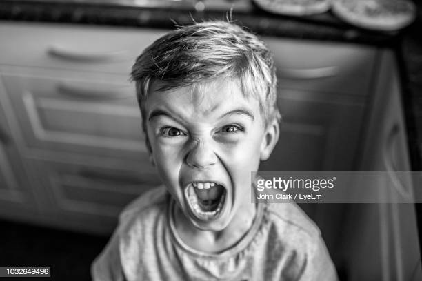 portrait of boy screaming at home - reizen stock-fotos und bilder