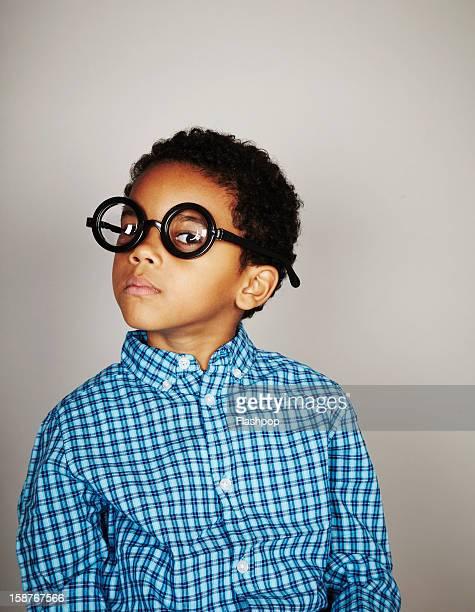 Portrait of boy wearing funny glasses