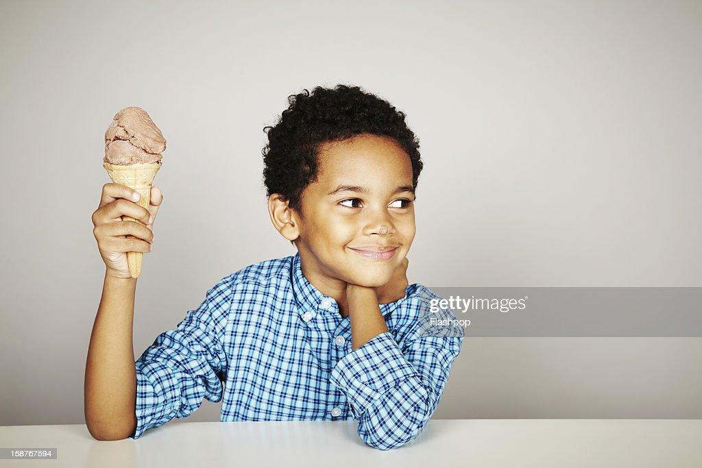 Portrait of boy with ice-cream : Stock Photo