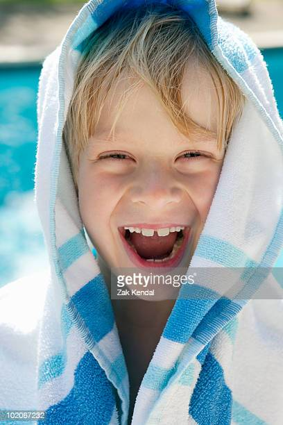 Portrait of Boy wrapped in towel