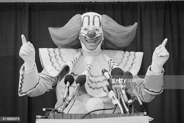 A portrait of Bozo The Clown also known as Larry Harmon speaking at a press conference as he campaigns for president on a cross country tour Bozo is...