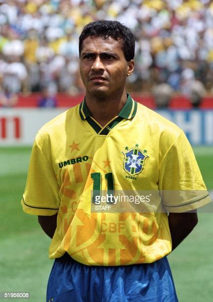 Portrait of Brazilian forward Romario, taken 24 June 1994 in Stanford before the World Cup first round soccer match between Brazil and Cameroon. AFP...
