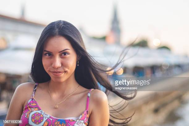 portrait of brazilian girl, with straight hair, at ver-o-peso market, belem do para - para state stock photos and pictures