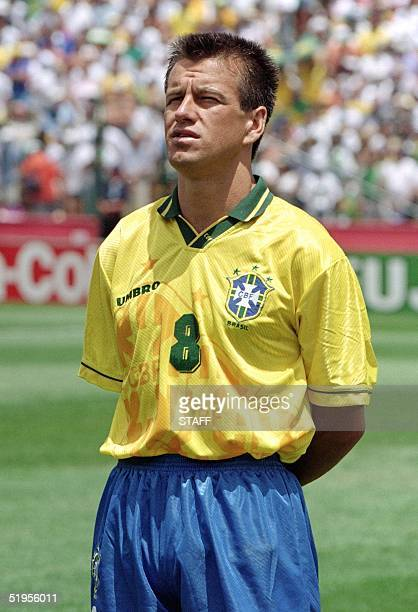 Portrait of Brazilian midfielder Dunga, taken 24 June 1994 in Stanford before the World Cup first round soccer match between Brazil and Cameroon. AFP...