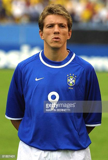 Portrait of Brazilian midfielder Juninho Paulista taken 28 March 2001 in Quito before the 2002 World Cup qualifying soccer match between Ecuador and...