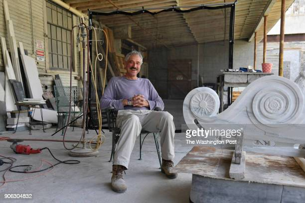 Portrait of Brent Wilson sculptor and stone carver at his business Proctor Marble Company on July 20 2017 in Proctor Vt