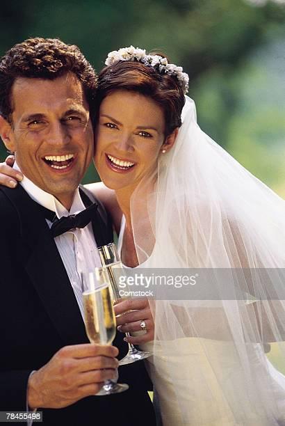 portrait of bride and groom on wedding day - 1990~1999年 ストックフォトと画像
