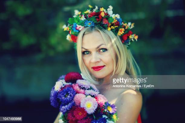 Portrait Of Bride With Flowers