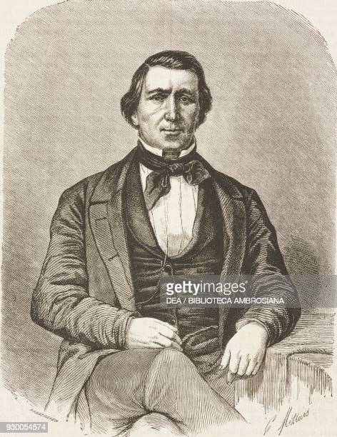 Portrait of Brigham Young , president of the Mormons, United States of America, drawing by Charles-Joseph Mettais from a sketch by Jules Remy , from...