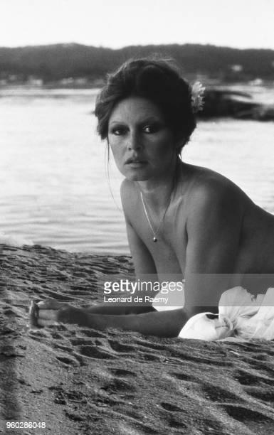 Portrait of Brigitte Bardot on her beach in La Madrague Saint Tropez France
