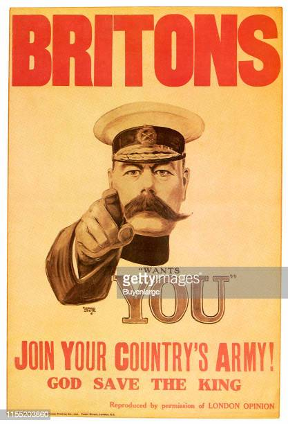 Portrait of Britain's General Lord Kitchener point at his people as an enlistment Poster United Kingdom 1914