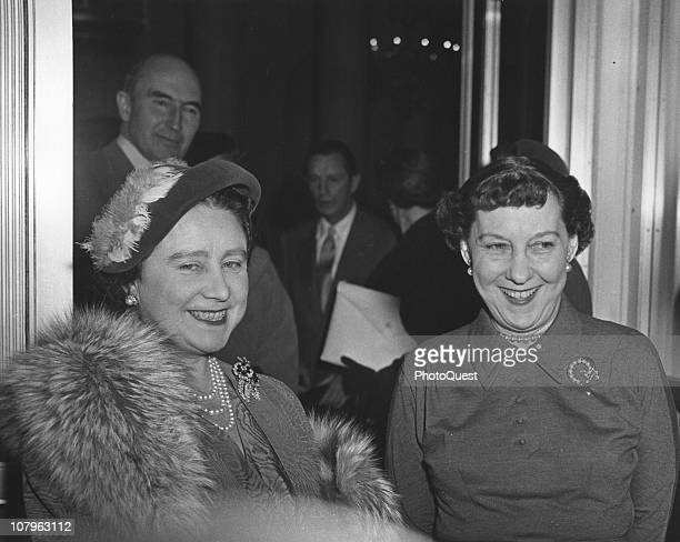 Portrait of Britain's Queen Mother and US First Lady Mamie Eisenhower during a royal visit Washington DC November 6 1954