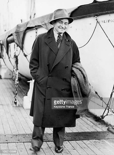 Portrait Of British Actor Claude Rains Onboard The Steamer Majestic On His Arrival At The Port Of Southampton January 17 1935