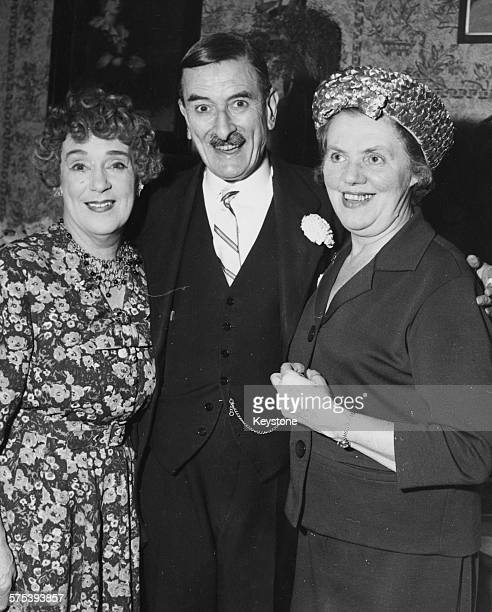 Portrait of British actors Kathleen Harrison Cyril Smith and Marjorie Rhodes stars of the film and stage show 'Watch it Sailor' attending a...