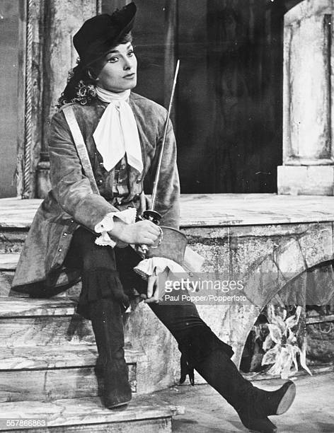 Portrait of British actress Barbara Jefford in costume as Viola during rehearsals for the play 'Twelfth Night' at the Old Vic Theatre London April...
