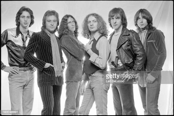 Portrait of British American rock band Foreigner as they pose in the photographer's studio New York New York 1976 Left to Right Ed Gagliardi Mick...