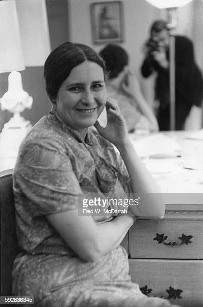 Portrait of British author and playwright Doris Lessing New York New York May 18 1969 Photographer Fred McDarrah is visible reflected in the mirror...