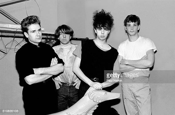 Portrait of British band Echo and the Bunnymen as they pose backstage at the Park West Auditorium Chicago Illinois March 21 1984 Pictured are from...