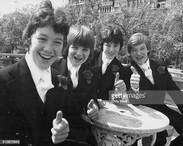 Portrait of British band 'Our Kid'; Terry Beccino, Kevin Rowan, Brian Farrell and Terry McCreight, May 13th 1976.