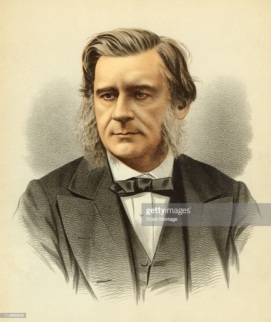 Portrait of British biologist Thomas Henry Huxley (1825 - 1895), mid to late nineteenth century. Huxley was one of several participants in an Oxford University debate about Darwin's theory of evolution, which had been recently published--Huxley advocated Darwin's ideas.