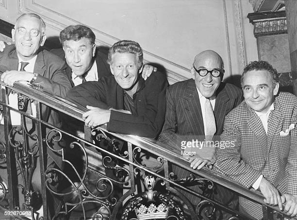 Portrait of British comedians Eddie Gray Frankie Howard Jon Pertwee Robertson Hare and Kenneth Connor stars of the show 'A Funny Thing Happened on...