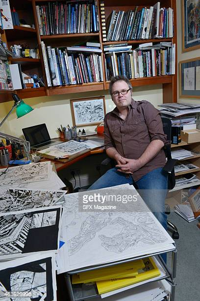 Portrait of British comics artist Bryan Hitch photographed at his home in Surrey England on January 15 2014 Hitch is best known for his work on major...