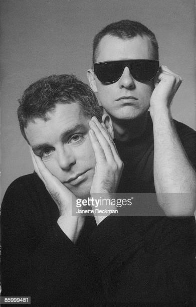 Portrait of British electronic and pop group the Pet Shop Boys Neil Tennant and Chris Lowe New York New York 1985