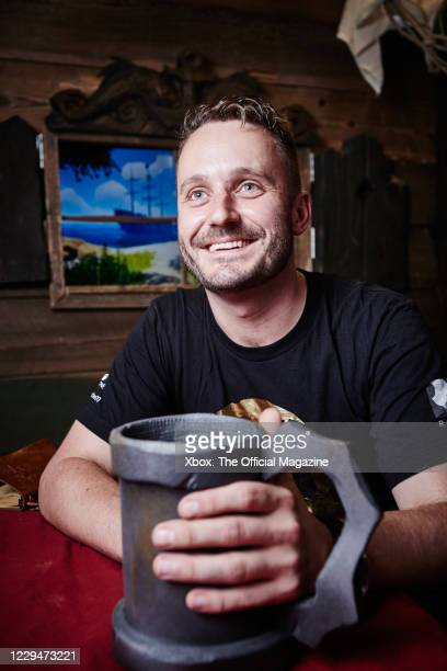 Portrait of British games developer Joe Neate, executive producer of action-adventure game Sea Of Thieves, photographed at games development studio...