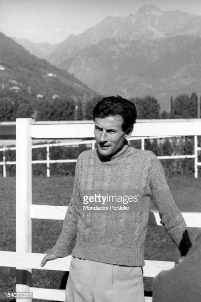 Portrait of British group captain and aviator Peter Townsend during a horse show. Merano, 1955
