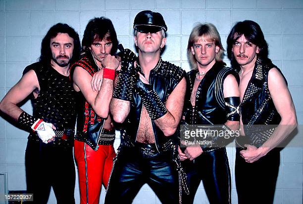Portrait of British heavy metal group Judas Priest as they pose backstage at the Rosemont Horizon, Rosemont, Illinois, June 14, 1984. Pictured are,...