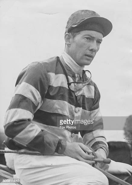 Portrait of British jockey Lester Piggott on horseback June 1962
