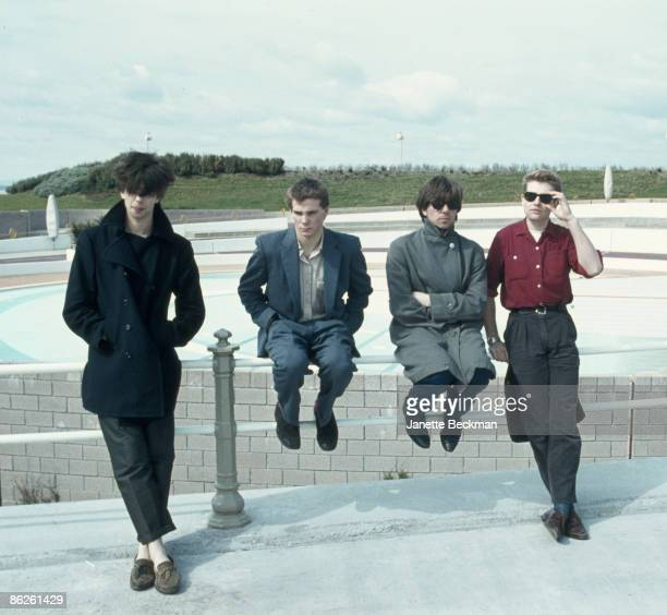 Portrait of British music group Echo the Bunnymen Blackpool England 1981 Pictured are from left Ian McCulloch Pete de Freitas Will Sergeant and Les...