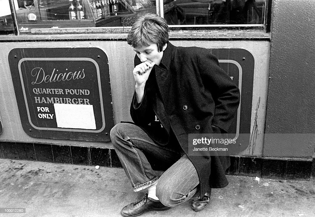 Portrait of British musician Simon Stebbing, of the mod rock group Purple Hearts in Soho, London, England, 1980.