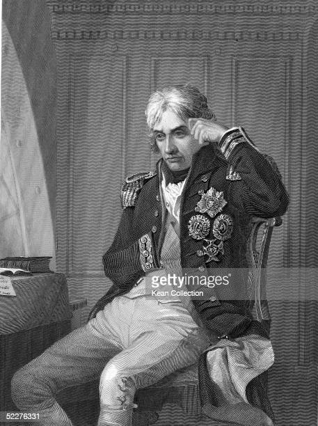 Portrait of British naval commander Admiral Horatio Nelson, famous for his participation in the Napoleonic Wars, seated at a desk, 1800s. Admiral...
