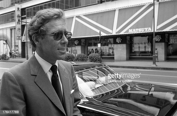 Portrait of British photographer Antony ArmstrongJones 1st Earl of Snowdon on an unidentified street Tokyo Japan 1974 He was in Japan for his...