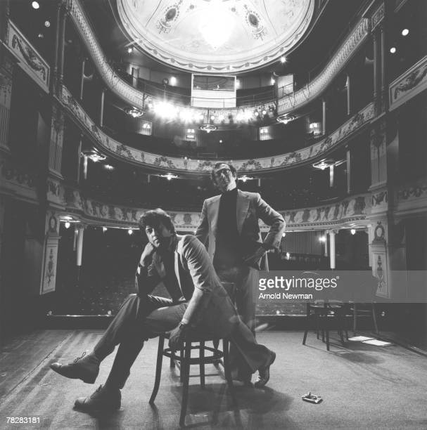 Portrait of British playwrights Sir Tom Stoppard and Harold Pinter on the stage at an unidentified theatre London England 1978 Photo by Arnold Newman