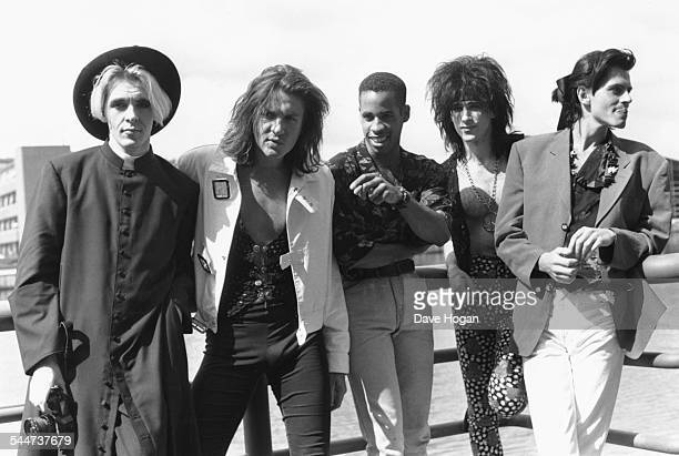 Portrait of British pop band 'Duran Duran' outside the new Docklands Arena in London April 13th 1989