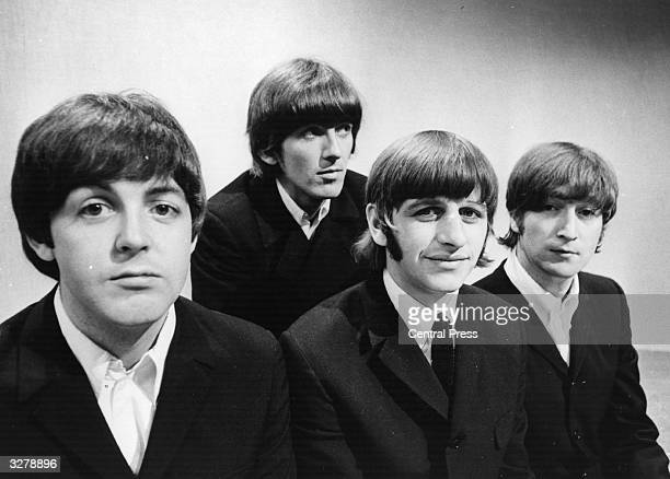 Portrait of British pop group The Beatles Paul McCartney George Harrison Ringo Starr and John Lennon at the BBC Television Studios in London before...