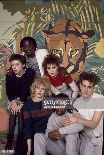 Portrait of British pop music groups Banarama and Fun Boy Three London England 1981 The three women the in center are Banarama British singers and...