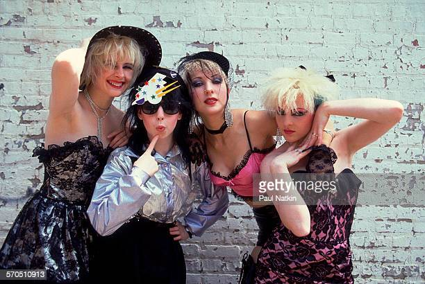 Portrait of British PopPunk group We've Got a Fuzzbox and We're Gonna Use It as they pose in front of a brick wall Chicago Illinois June 7 1987...