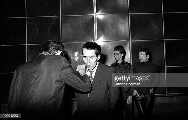 Portrait of British postpunk group the Monochrome Set London England late 1970s Pictured are from left Canadian guitarist Lester Square drummer John...