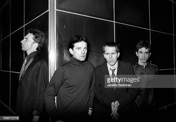Portrait of British postpunk group the Monochrome Set London England late 1970s Pictured are from left Canadian guitarist Lester Square bass player...