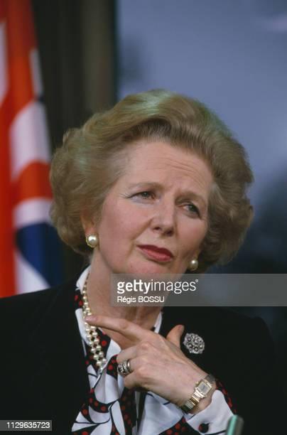 Portrait of British Prime Minister Margaret Thatcher.