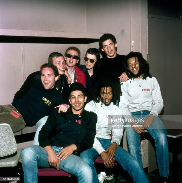 Portrait of British reggae and pop band UB40 London England 1983