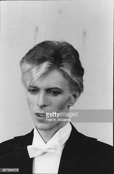 Portrait of British Rock musician and actor David Bowie as he attends the 17th Grammy Awards at the Uris Theater New York New York March 1 1975