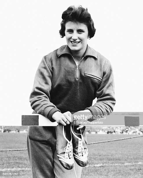 Portrait of British sprinter Dorothy Hyman on a running track during training on 3rd April 1960 Later in the year she won Olympic silver and bronze...