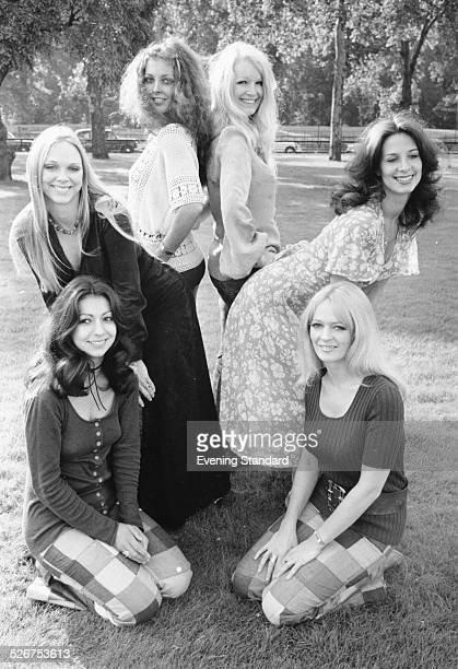 Portrait of British television dance troop Pan's People Ruth Pearson Flick Colby Louise Clark Barbara Lord Dee Dee Wilde and Andy Rutherford...