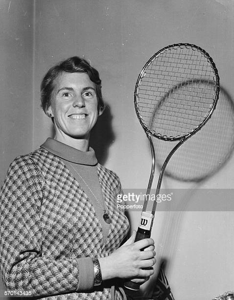 Portrait of British tennis player Ann Jones holds her new revolutionary steelframed Wilson tennis racket January 17th 1968