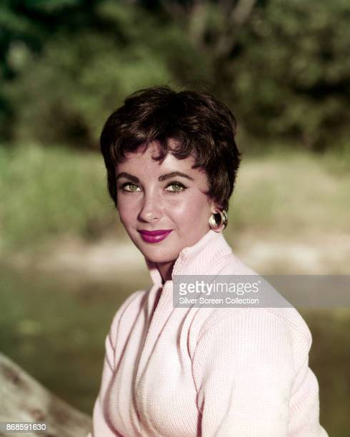 Portrait of BritishAmerican actress Elizabeth Taylor as she poses outdoors 1950s