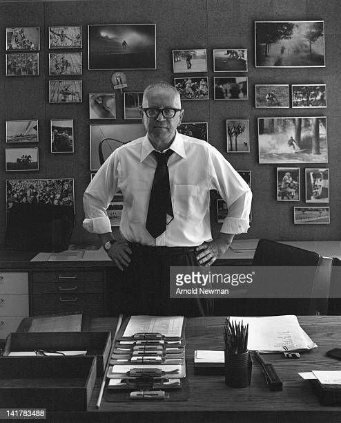 Portrait of Britishborn magazine editor Andre Laguerre as he poses hands on his hips in his office at Sports Illustrated magazine New York New York...